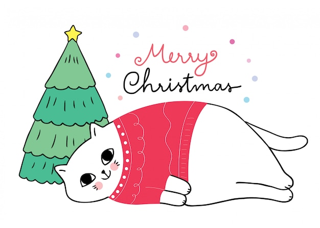 眠っている赤いセーターを着て漫画かわいいクリスマス猫。
