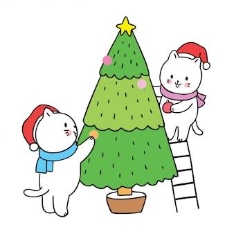 Мультяшный милый рождество, кошки обрамляют елку