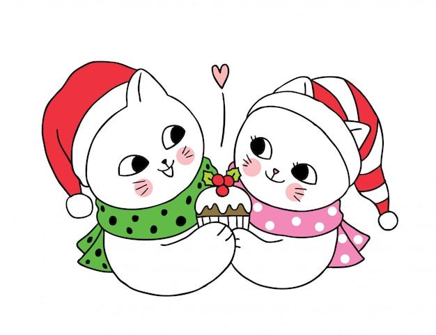 Мультяшный милая новогодняя пара кошек и кекс