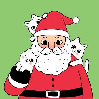 Мультяшный милый рождество дед мороз и коты