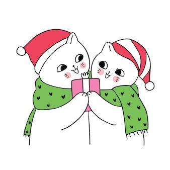 Мультяшный милая новогодняя пара кошек и подарок