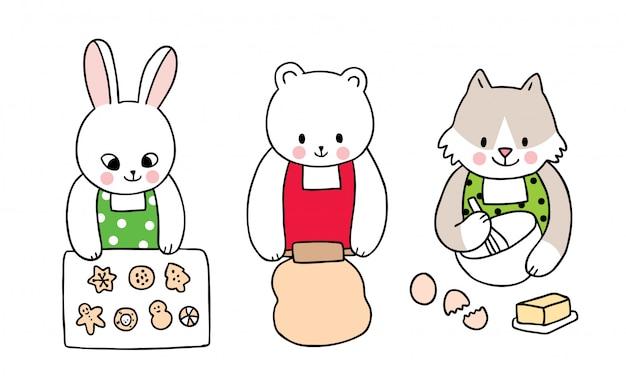 Мультфильм милый рождество, кролик и белый медведь и лиса приготовления печенья.