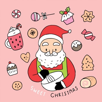漫画のかわいいクリスマスサンタクロースと甘いケーキ。