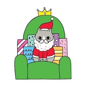 Мультяшный милый рождественский кот и подарок на диване.