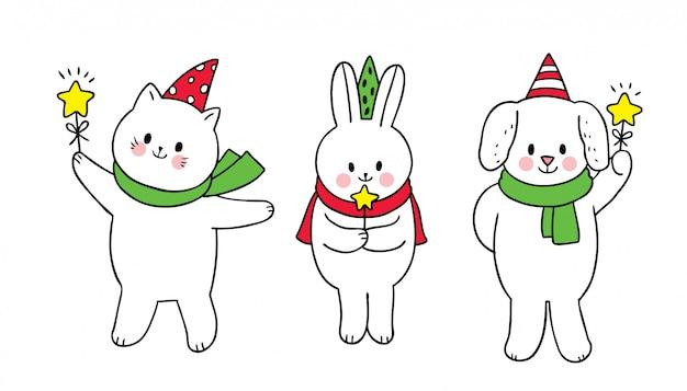 漫画かわいいクリスマス、ホッキョクグマとウサギと雪キツネと星