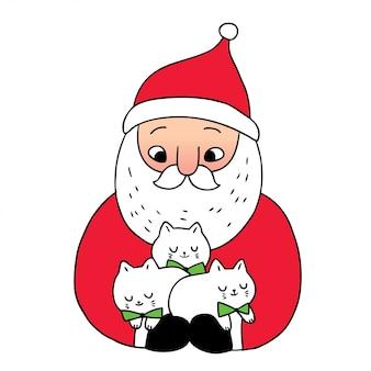 Мультяшный милый новогодний дед мороз и коты