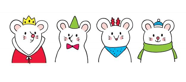 Мультяшный милая новогодняя мышь.