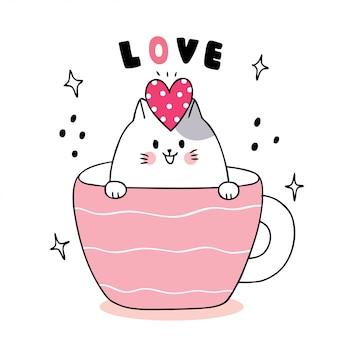 Белый кот и сердце в чашке кофе