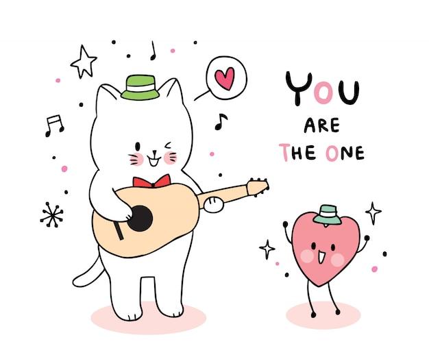 Кот играет на гитаре и сердце
