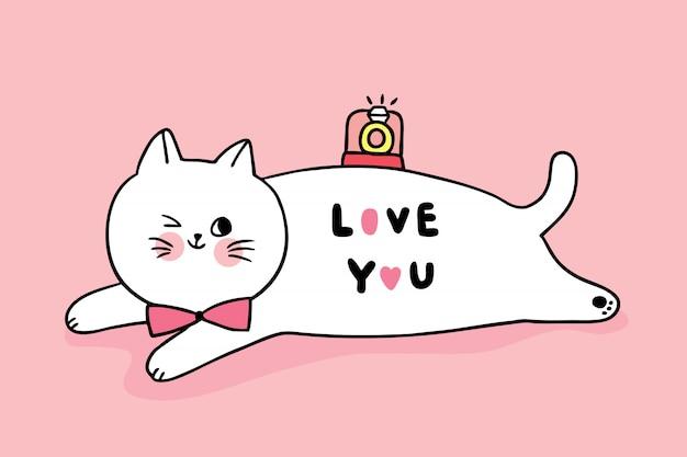 Мультфильм милый день святого валентина кот и бриллиантовое кольцо вектор.
