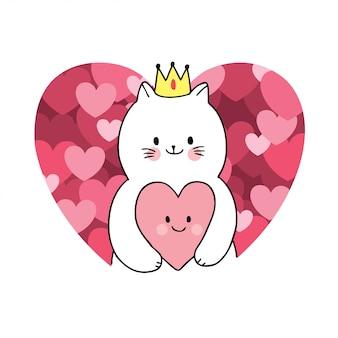 Кот дня валентинок шаржа милый и вектор сердец.