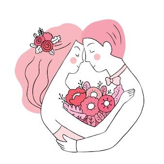 漫画かわいいバレンタインデー女と男の恋人の結婚式のベクトル。