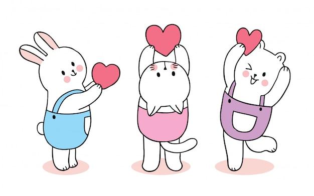 Кролик и котенок дня валентинок шаржа милый и медведь играя вектор сердец.