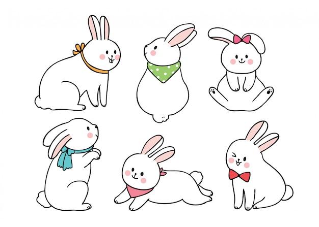 漫画かわいいイースターの日のアクションウサギ