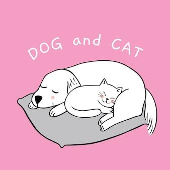 かわいい犬と猫が眠っている。