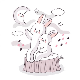 漫画かわいい愛らしい家族白ウサギに座って、空に星を探して