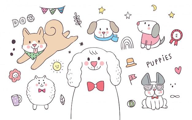 Мультфильм милые элементы очаровательны собаки действия