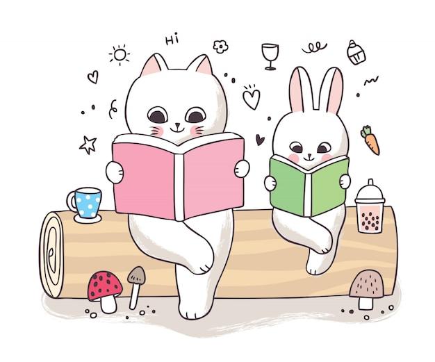 Мультяшный милый весенний, кот и кролик читает книгу на бревне