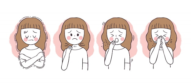 漫画はウイルス、咳、発熱、くしゃみを保護します。