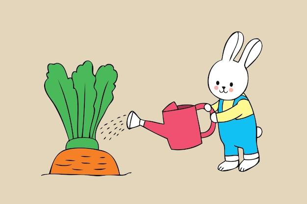 Мультфильм милый маленький кролик и гигантский вектор моркови.