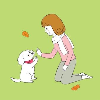 漫画かわいい秋の女性と犬のベクトル。