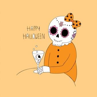 漫画かわいいハロウィーンのスケルトンと飲酒ベクトル。