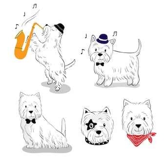 Мультяшная симпатичная собака белого терьера