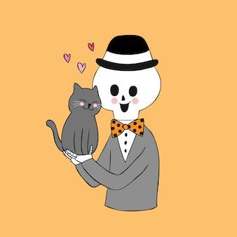 漫画かわいいハロウィーンの猫と頭蓋骨のベクトル。
