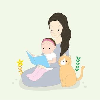 漫画かわいいお母さんと赤ちゃんの読書本と猫