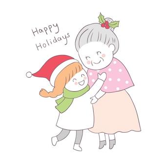 漫画かわいいクリスマスの女の子は、古い女性のベクトルを抱擁。