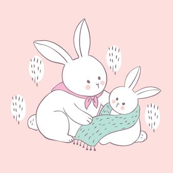 漫画かわいいウサギのママと赤ちゃんのベクトル。