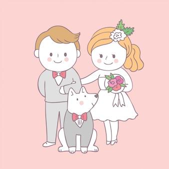 漫画かわいい花嫁と新郎と犬のベクトル。