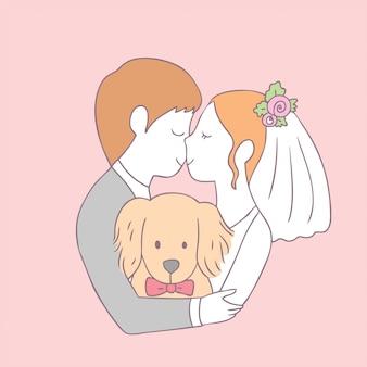漫画かわいい花嫁キスの新郎と犬のベクトル。