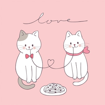 Мультфильм милый день святого валентина пара кошек едят.