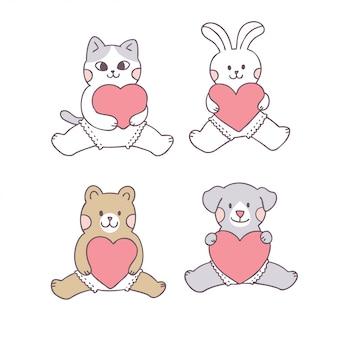 かわいいバレンタインの日の動物の赤ちゃんと愛を漫画します。