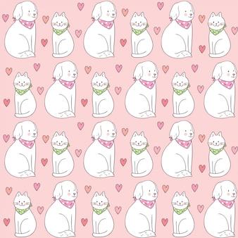 漫画かわいいバレンタインの日猫と犬のシームレスパターン。