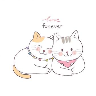 漫画かわいいバレンタインの日カップル猫ベクトル。