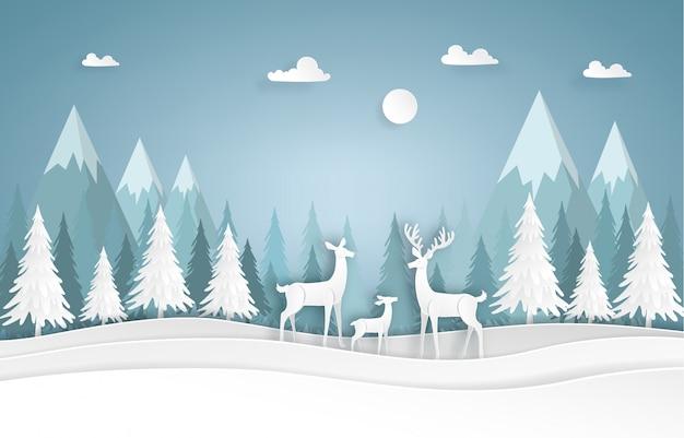 Семья оленей в лесу