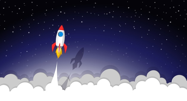 宇宙ロケット打ち上げから夜空へ