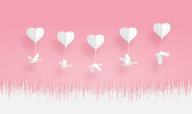 Оригами шары с птицей чирок и травы