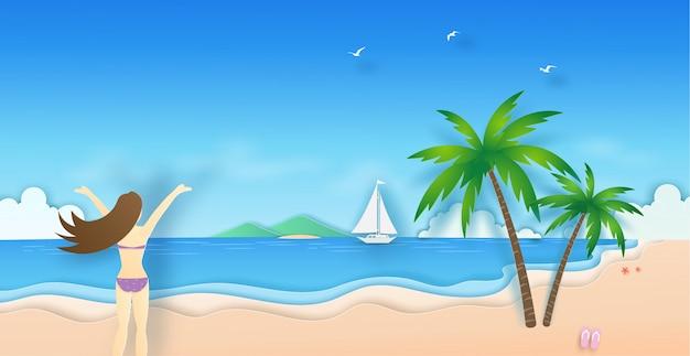 ビキニの女性たちは夏にココナッツの木とボートで海を見にビーチに設定します。ベクトル紙アートコンセプト。
