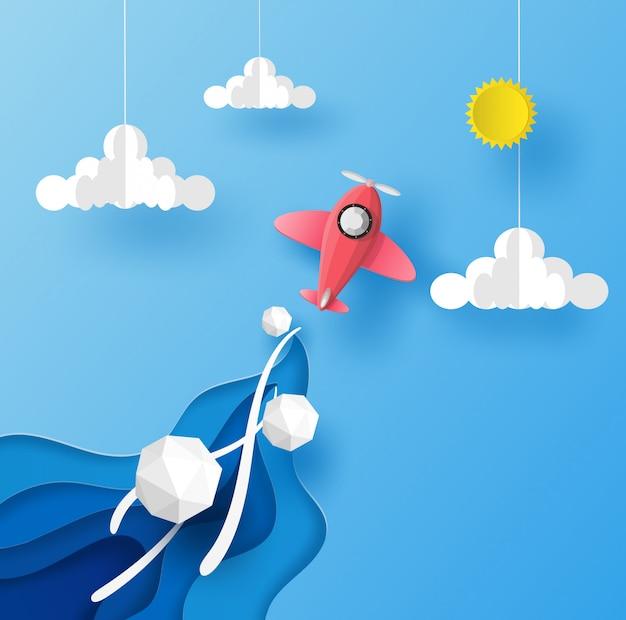 Самолет подбора цвета, запуск в голубое небо над облаком и выход на солнце. векторный дизайн в бумаги вырезать.