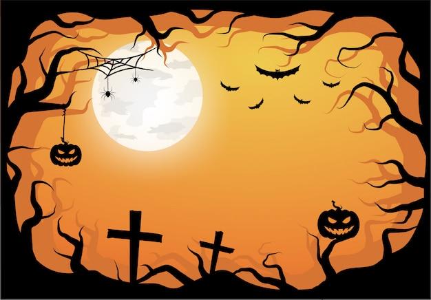 Шаблон хеллоуина оранжевый в взгляде ночного неба с темным деревом, тыквой и полнолунием.