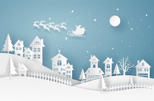 Веселая рождественская открытка в зимний пейзаж с домами и зданиями и санта-клаус на небе