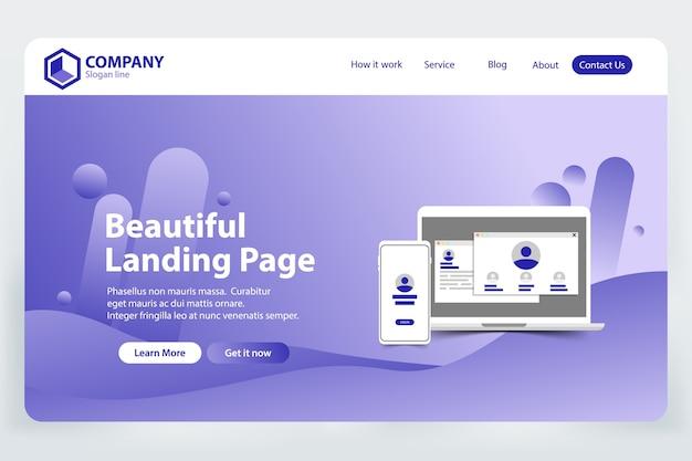 美しいランディングページウェブサイトのベクターテンプレートデザイン
