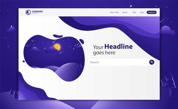 ランディングページウェブサイトのベクターテンプレートデザイン