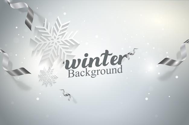 冬のスノーフレークベクトルの背景