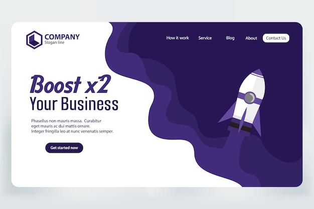 ブーストビジネスウェブサイトランディングページベクトルテンプレート