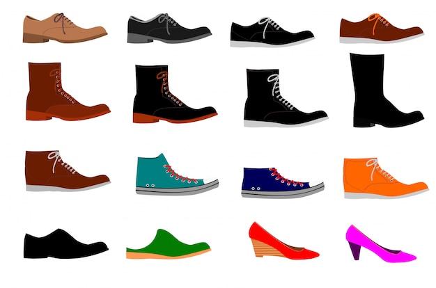 白い背景に様々な種類の靴のコレクション