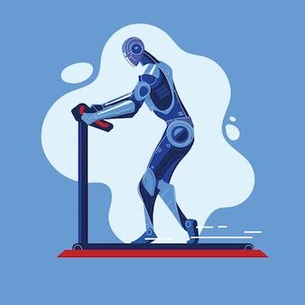 トレッドミル上でロボットが走るスポーツフィットネスジムコンセプトでワークアウト